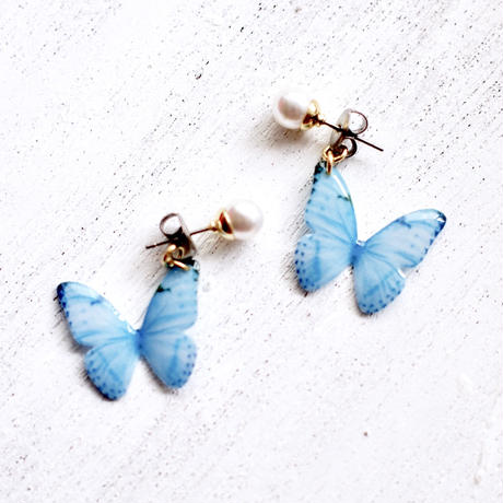 Sky Blue Butterfly Earrings With Pearl [Pierced or Clip-on]