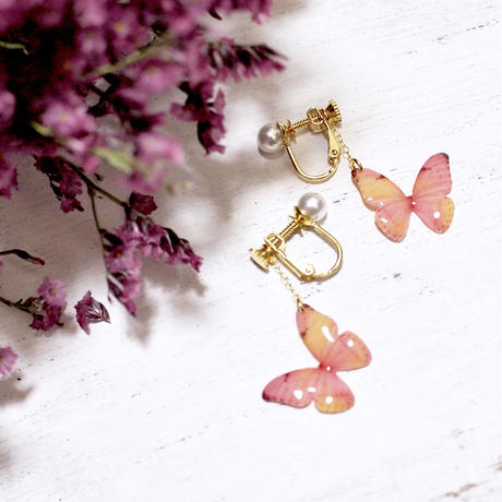 Light Coral Butterfly Earrings With Pearl [Pierced/Clip-on]