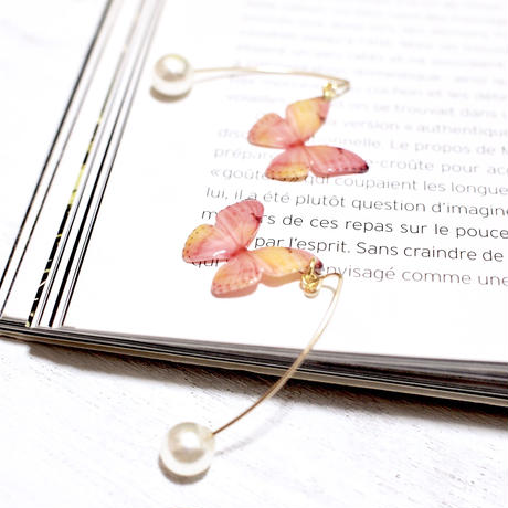Light Coral Butterfly Hook Earrings with Pearl [Pierced]