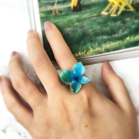 あじさい香る指元 リング【緑・青】