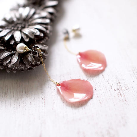 Coral Pink Petals Earrings With Pearl [Pierced Or Clip-on]