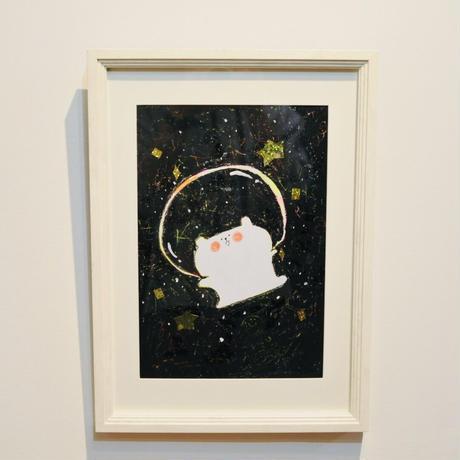 原画・額付「宇宙を夢みるくま」