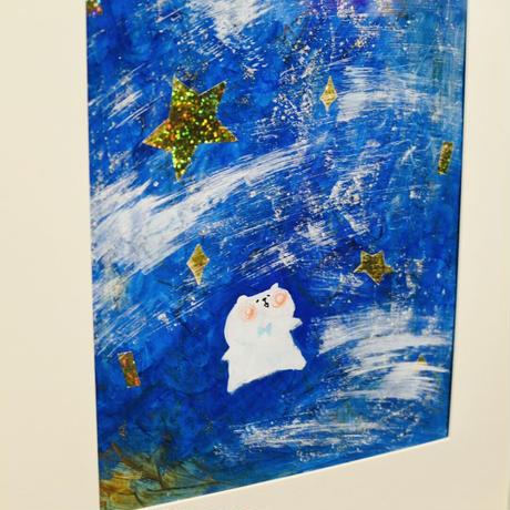 原画・額付「星のシャワーとくま」