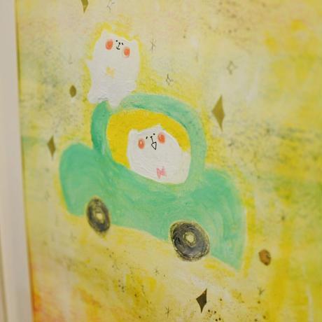 原画・額付「海と車とくま」