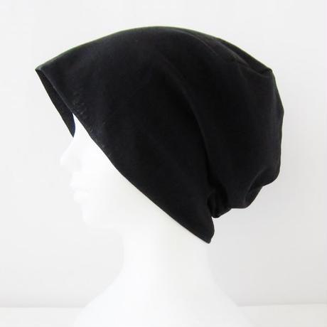 抗がん剤等脱毛時の帽子 ケア帽子 医療用帽子 にも使える 夏に涼しく下地にもなる ゆったりガーゼ帽子 黒 CGR-009-B3