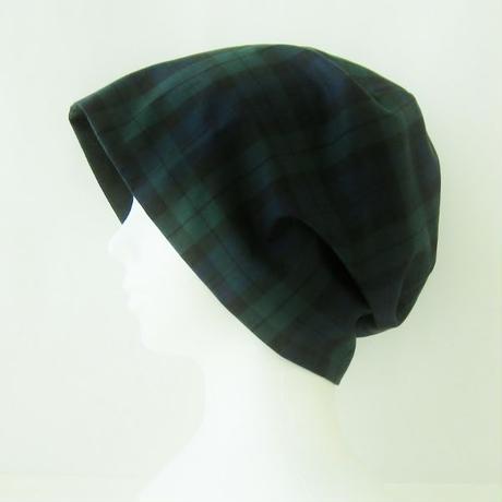 抗がん剤等脱毛時の帽子 ケア帽子 医療用帽子 にも使える 夏に涼しく下地にもなる ゆったりガーゼ帽子 ブラックウォッチ 黒 CGR-009-BWB