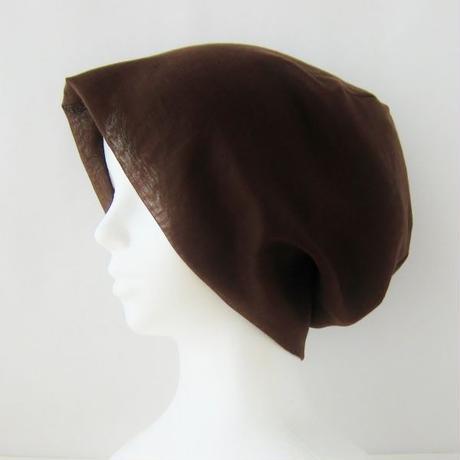 抗がん剤等脱毛時の帽子 ケア帽子 医療用帽子 にも使える 夏に涼しく下地にもなる ゆったりガーゼ帽子 茶  CGR-009-C