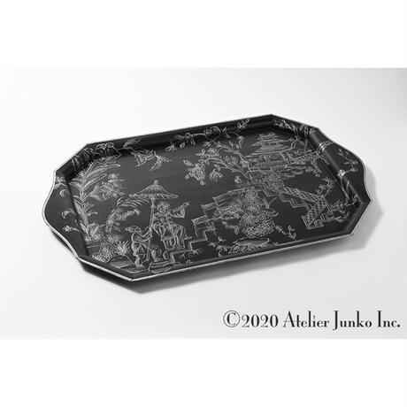 JBT-8013 トレー  メタル レクタングラ シノワズリー ブラック