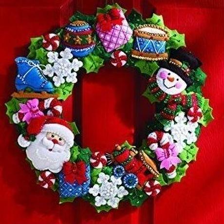 Bucilla  ブシラ リースキット「クリスマス・サンタ&スノーマン」