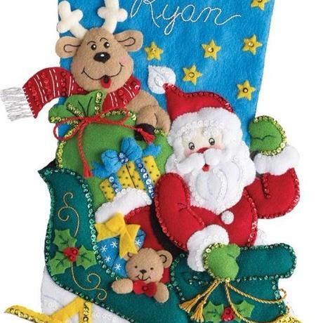 「Santa's  HelperBucilla ブシラ クリスマス ハンドメイド フェルト くつ下 ソックス  ストッキング キット」