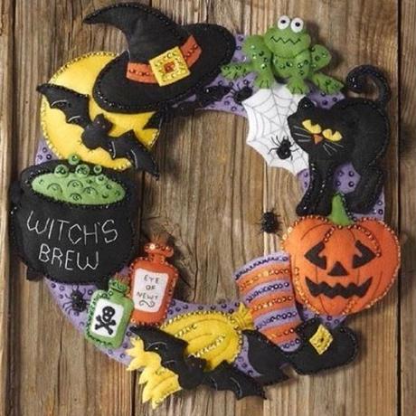 Bucilla 「Witch's Brew」 ハロウィンリース フェルトキット ブシラ