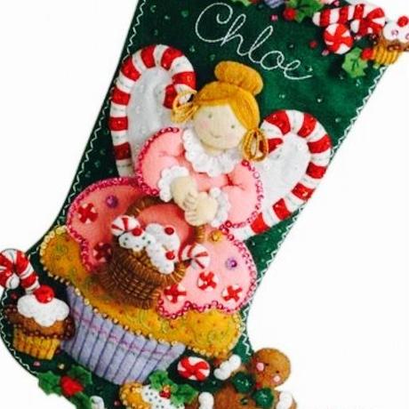 「CUPCAKE ANGEL」Bucilla ブシラ クリスマス ハンドメイド フェルト くつ下 ソックス  ストッキング キット