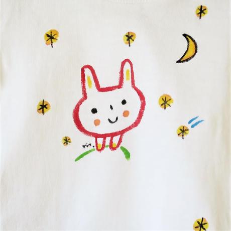 手描きTシャツ(こども)名入れ可  〈うさぎ〉