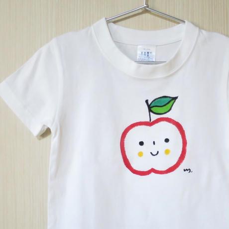 手描きTシャツ(こども)名入れ可  〈りんご〉