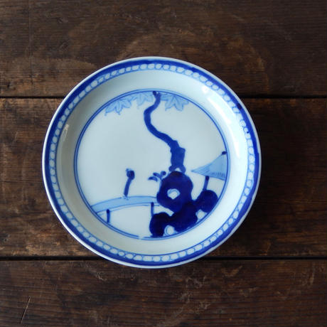 antiques 九谷 染付 6寸皿