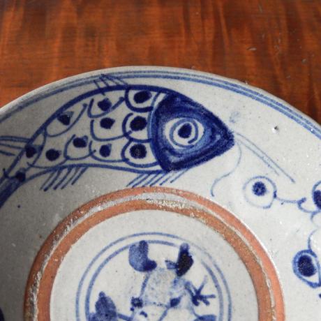 安南焼  染付 魚文 小皿