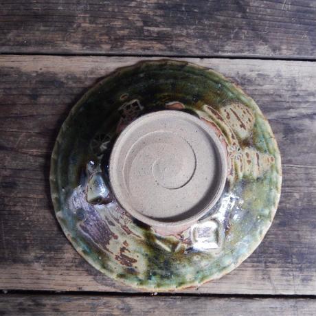 antiques  織部 不二窯 菓子皿(箱付)