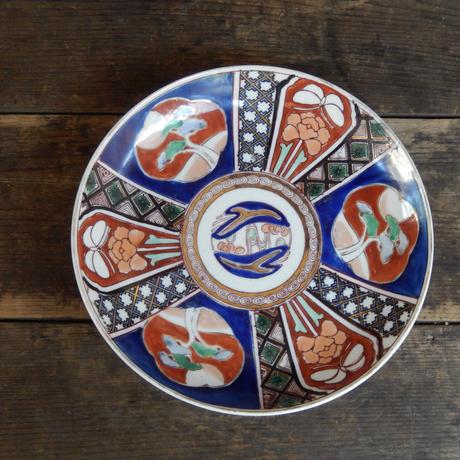 antiques  金彩 色絵印判  松と蝶と花の7寸皿
