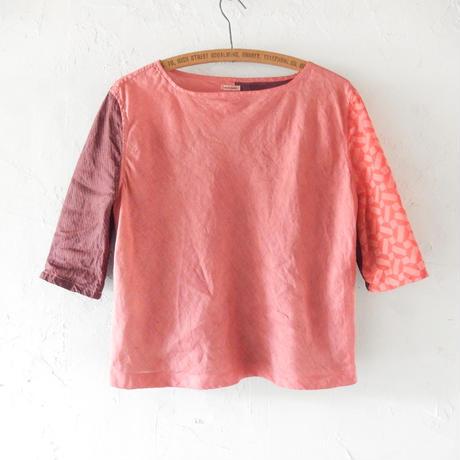 takuroh shirafuji Lithuania Linen Half Sleeve Pink Tops(Boro)