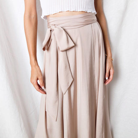 【Sea of Rose】Silky Wrap Skirt - Pink Beige
