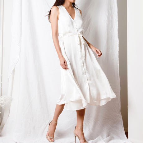 【Sea of Rose】Satin Midi Dress - White