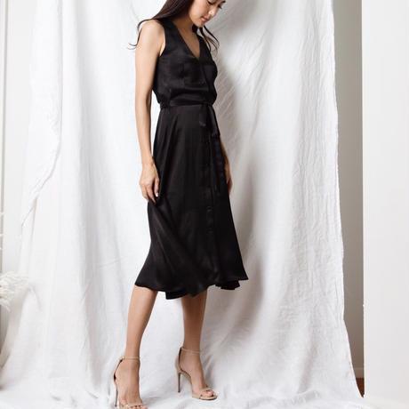 【Sea of Rose】Satin Midi Dress - Black