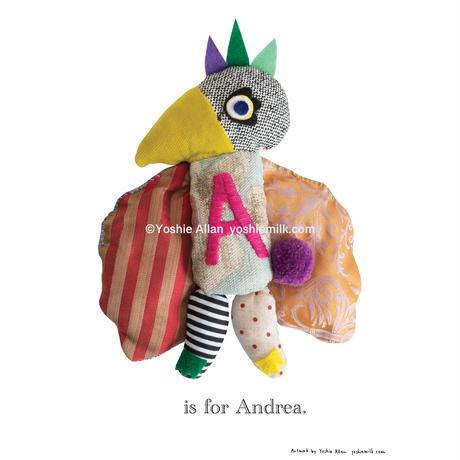 【A】【好きな名前を入れられます】ハギレ鳥のアートプリント