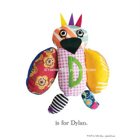 【D】【好きな名前を入れられます】ハギレ鳥のアートプリント