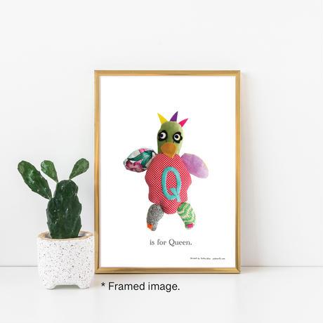 【Q】【好きな名前を入れられます】ハギレ鳥のアートプリント