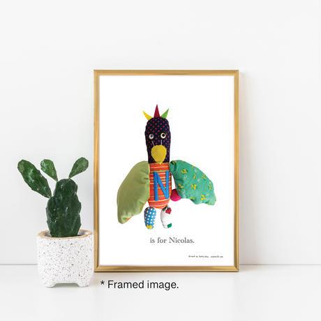 【N】【好きな名前を入れられます】ハギレ鳥のアートプリント