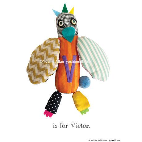 【V】【好きな名前を入れられます】ハギレ鳥のアートプリント