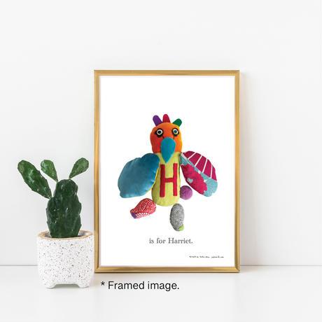 【H】【好きな名前を入れられます】ハギレ鳥のアートプリント