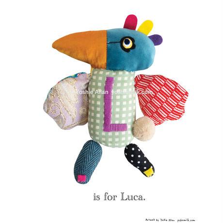 【L】【好きな名前を入れられます】ハギレ鳥のアートプリント