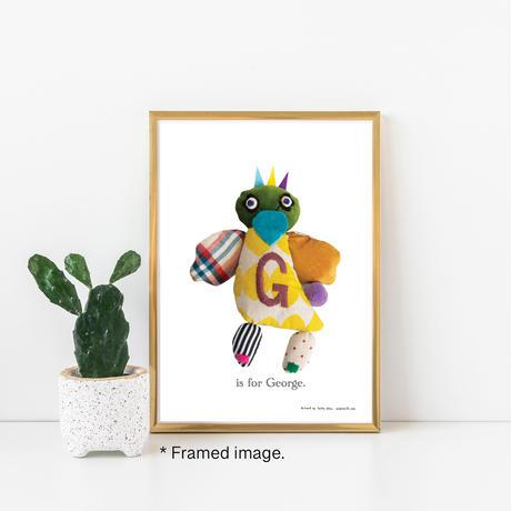 【G】【好きな名前を入れられます】ハギレ鳥のアートプリント