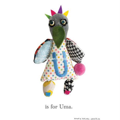 【U】【好きな名前を入れられます】ハギレ鳥のアートプリント