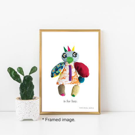 【I】【好きな名前を入れられます】ハギレ鳥のアートプリント