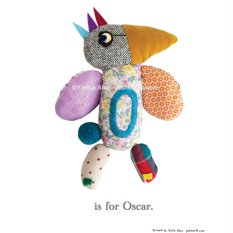 【O】【好きな名前を入れられます】ハギレ鳥のアートプリント