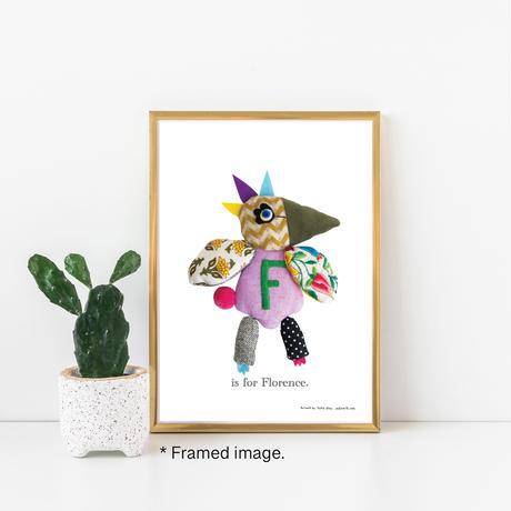 【F】【好きな名前を入れられます】ハギレ鳥のアートプリント
