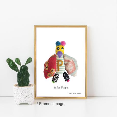 【P】【好きな名前を入れられます】ハギレ鳥のアートプリント