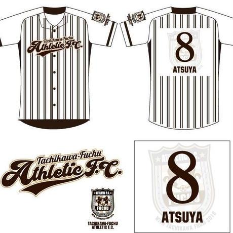 立川・府中アスレティックFC 応援ベースボールシャツ(ホワイト)番号・ネーム加工有り
