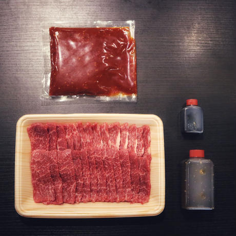 【健康を気遣うあなたへ捧げる】健康和牛あか牛上赤身セット 秘伝のタレ付き 上赤身300g・旨辛浅漬けキムチの素200g
