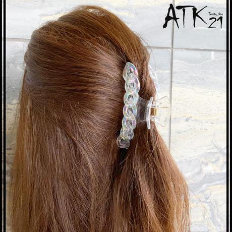 涼しげ 透明 クリア マーメイドチェーン バンスクリップ ヘアクリップ 髪留め しっかりホールド 簡単ヘアアレンジ レディース ヘアアクセサリー