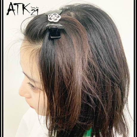 カメリア リボン ヘアクリップ ダッカール 髪留め  しっかりホールド 簡単ヘアアレンジ レディース ヘアアクセサリー