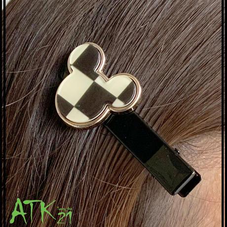 ミッキーモチーフ cute かわいい 大人可愛い ヘアクリップ  まとめ髪のポイント 髪留め レディース ヘアアクセサリー