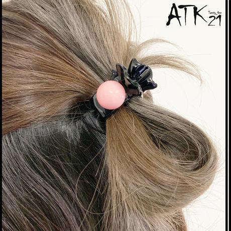 リボン ぷっくりサークル バンスクリップ  程よい大きさ 小さ目 しっかりホールド 髪留め 簡単ヘアアレンジ レディース ヘアアクセサリー