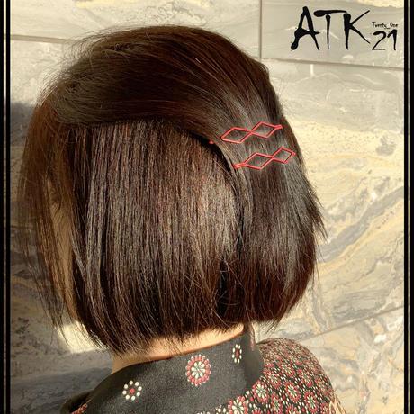 (2点セット)  ダブル ひし形 マットカラー ヘアピンセット シンプル 前髪 髪どめ まとめ髪 ヘアアクセサリー