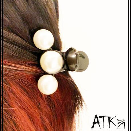 パール ライン 上品 シンプル バンスクリップ へアクリップ しっかりホールド 簡単ヘアアレンジ 髪留め レディース ヘアアクセサリー