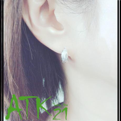 両耳用(2個セット)シンプル ツイストライン クロスデザイン ミニ フープピアス 18G シルバー メンズ レディース ユニセックス アクセサリー:HPB170704