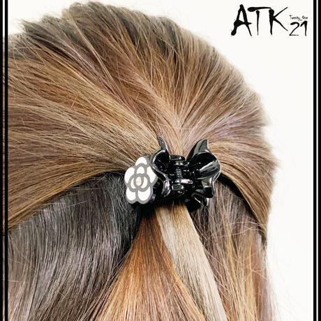 カメリア フラワーモチーフ バンスクリップ  程よい大きさ 小さ目 しっかりホールド 髪留め 簡単ヘアアレンジ レディース ヘアアクセサリー