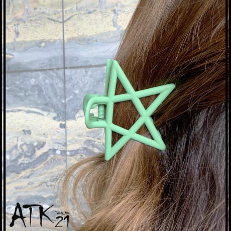 スター 星 マットカラー バンスクリップ ヘアクリップ 髪留め 簡単ヘアアレンジ レディース ヘアアクセサリー